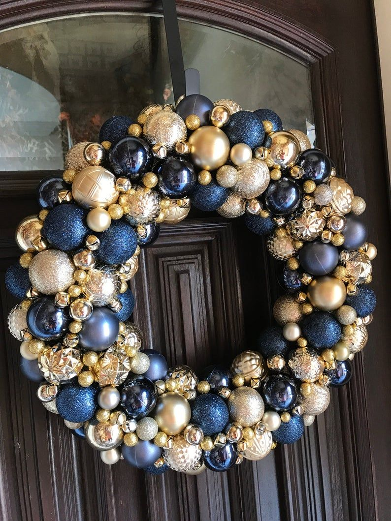 Gorgeous Navy And Gold Ornament Christmas Wreath Bauble Wreath Holiday Wreath Super Detailed Ornament Wreath Blue Christmas Decor Bauble Wreath Silver Christmas Decorations