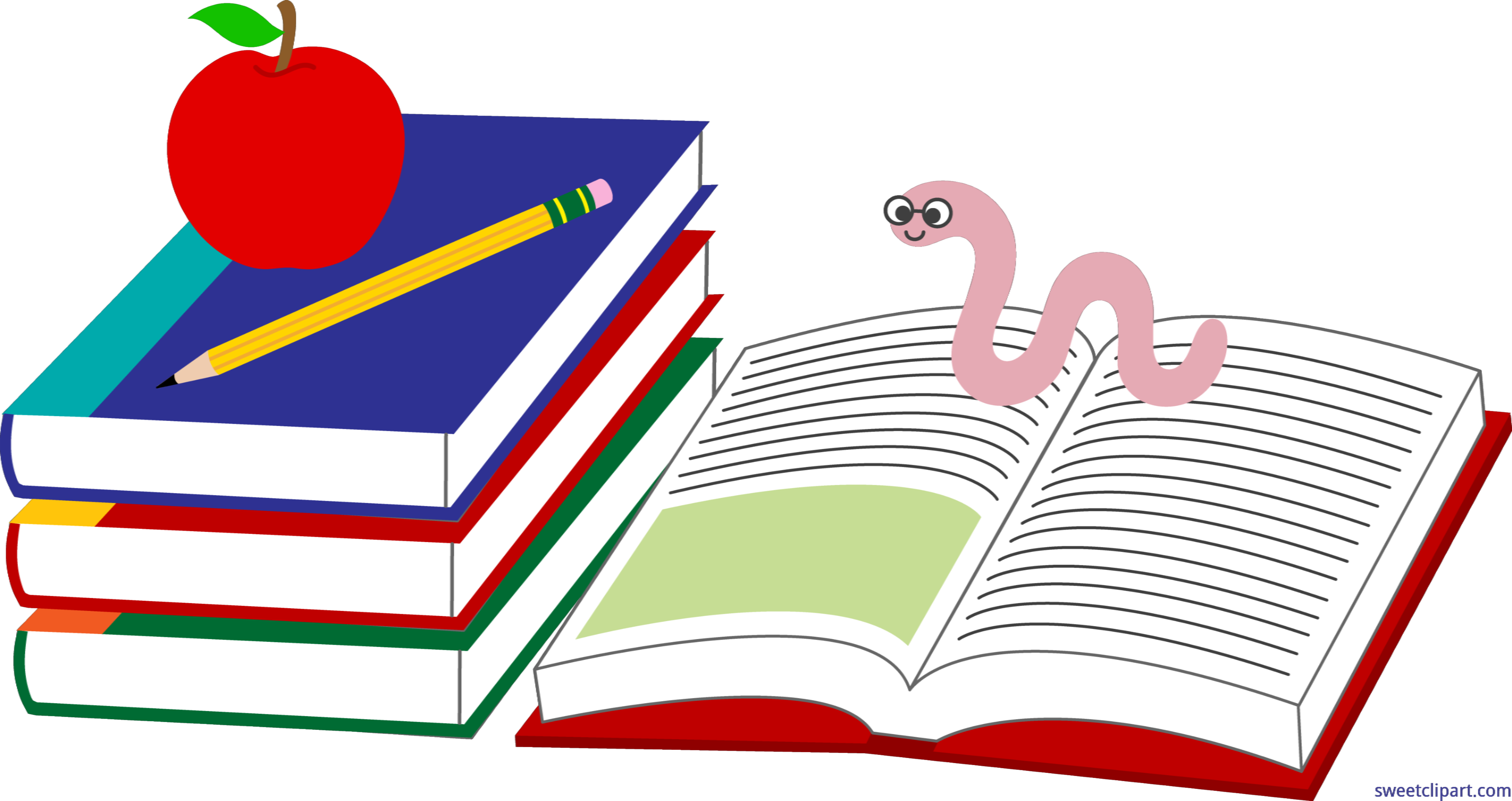 Apple pencil. Books bookworm clip art
