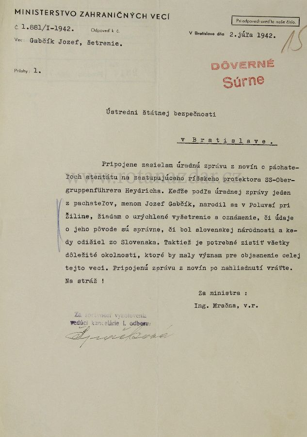 An inquiry for information on Jozef Gabčík Operace Anthropoid - letter of inquiry