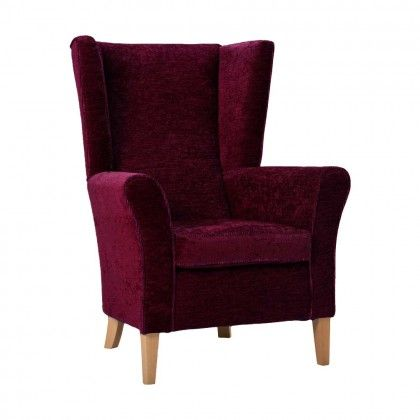 Cranborne High Back Armchair With Wings in Damson Soft Feel | Care ...