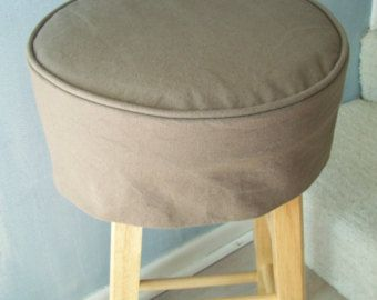 Brown Canvas Round Barstool Slipcover with Cushion Washable Slipcover Bar Stool Slipcover