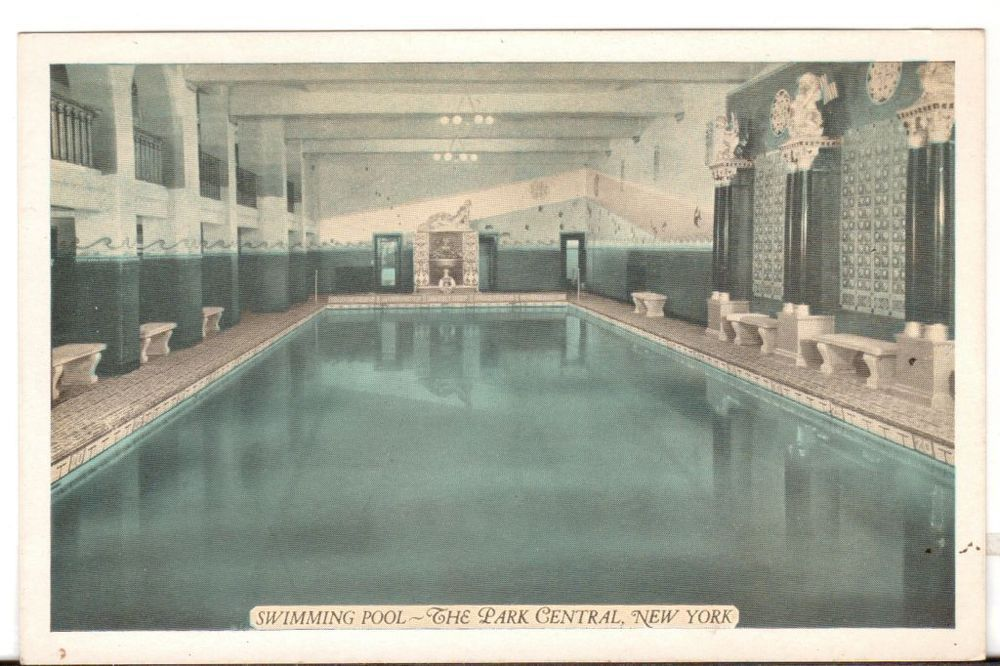Undated Unused Postcard Swimming Pool The Park Central Hotel New York City NY