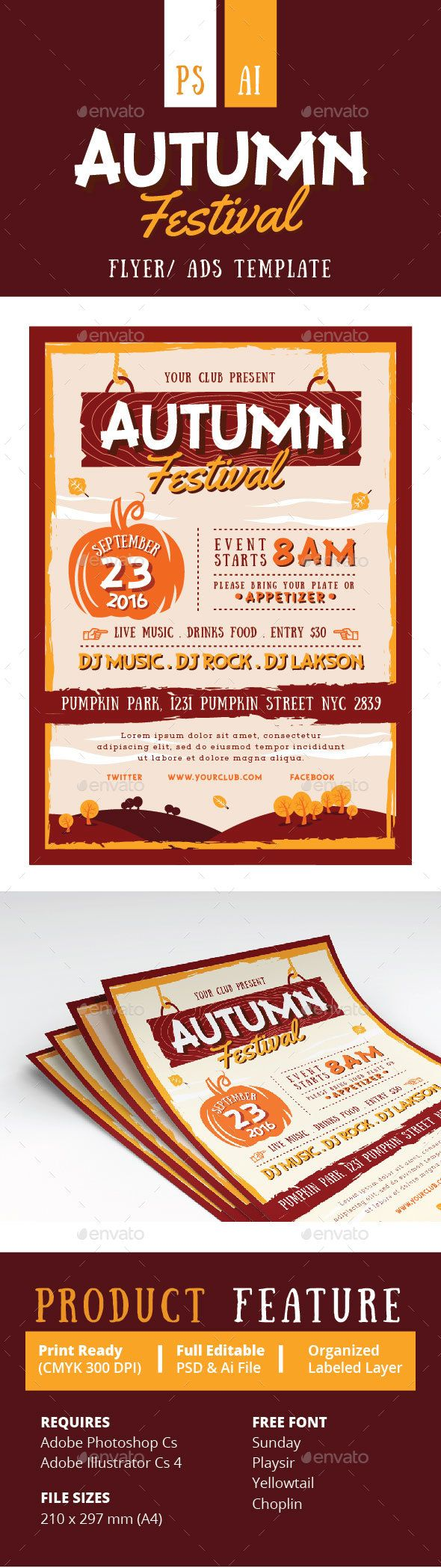 fall festival flyer poster party poster psd templates and flyer
