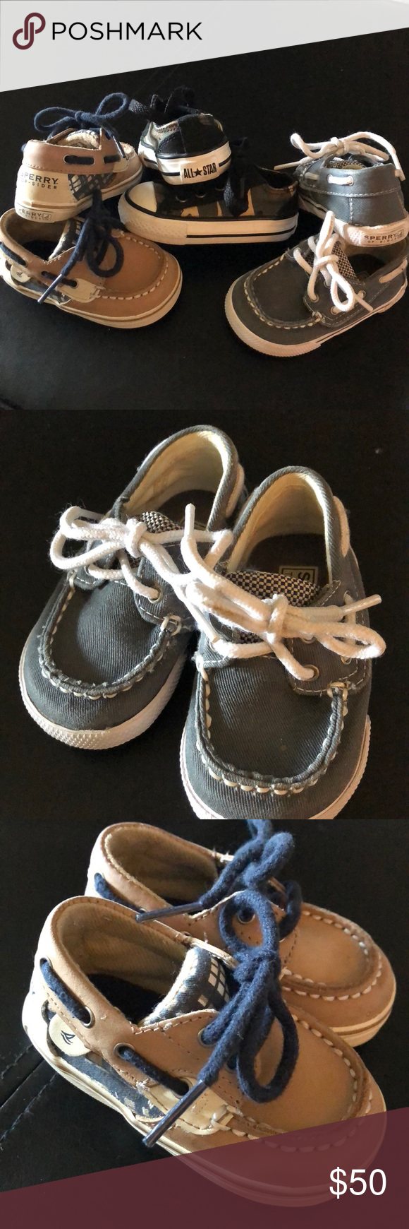 fad5ebc4c8b 3 Pairs of infant size 2 Sperry x2 converse x1 3 Pairs of infant size 2  Sperry x2 converse x1 sperry Converse Shoes Baby   Walker