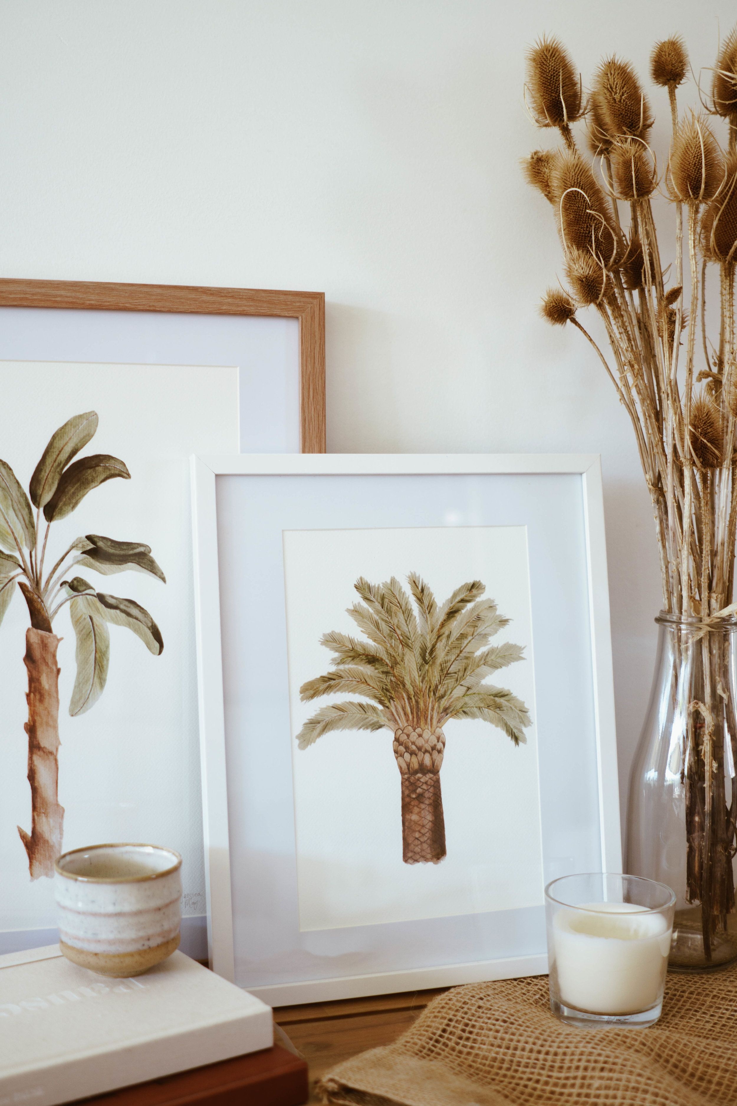 Date palm tree watercolour print wall art jessica may