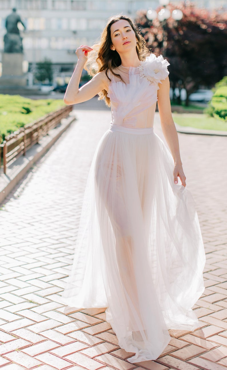 Airy Dress Made Of Soft Mesh With Silk Flower And Pleated Organza