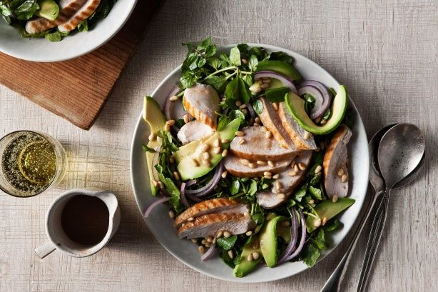 Grilled chicken, avocado and watercress salad