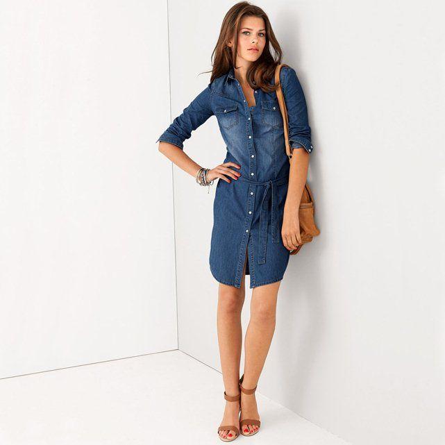 Robe-chemise manches longues, jean pur coton R essentiel   Love ... 0d498101b3c