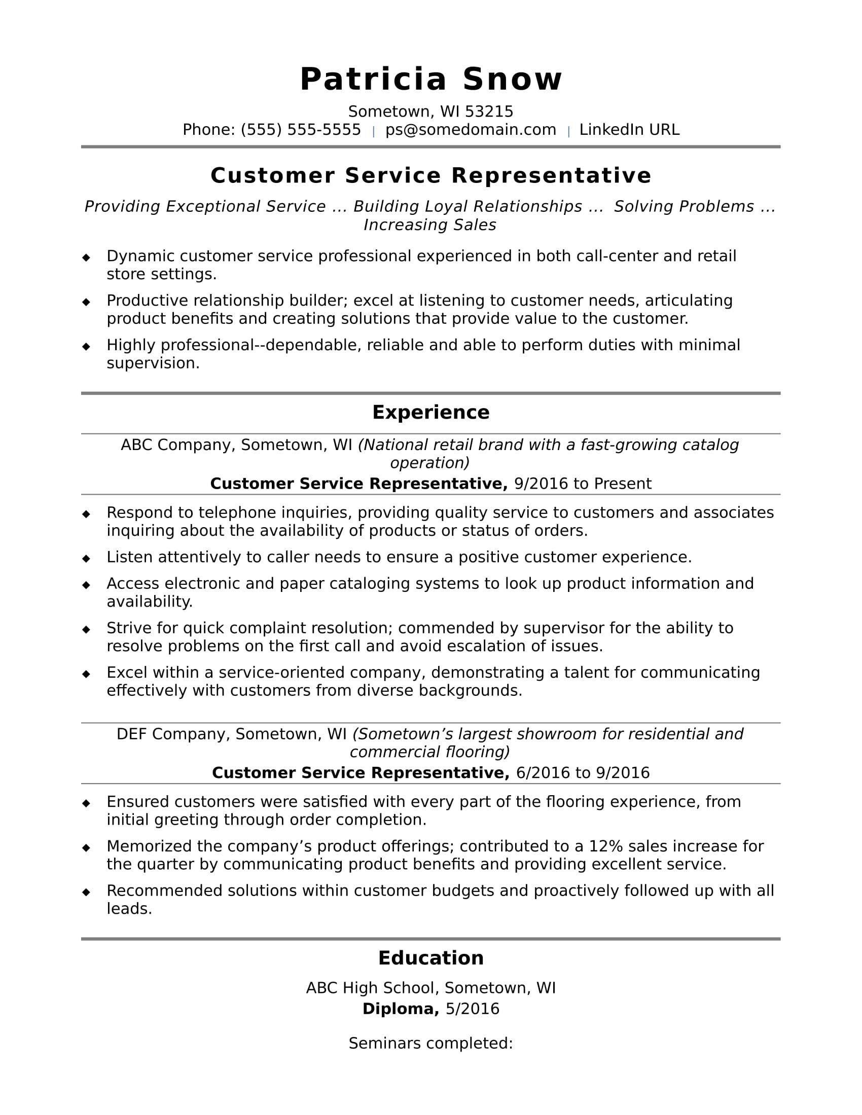 Objective Resume Examples Customer Service