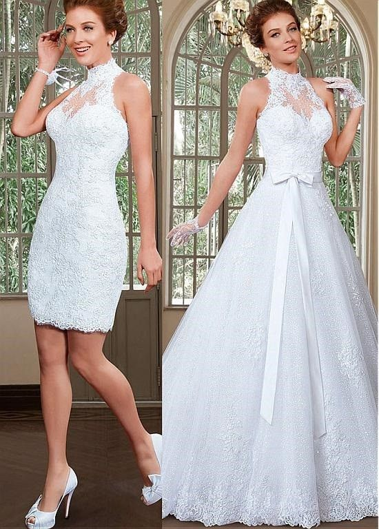 A line princess high neck sequins tulle wedding dress with for Wedding dress removable skirt