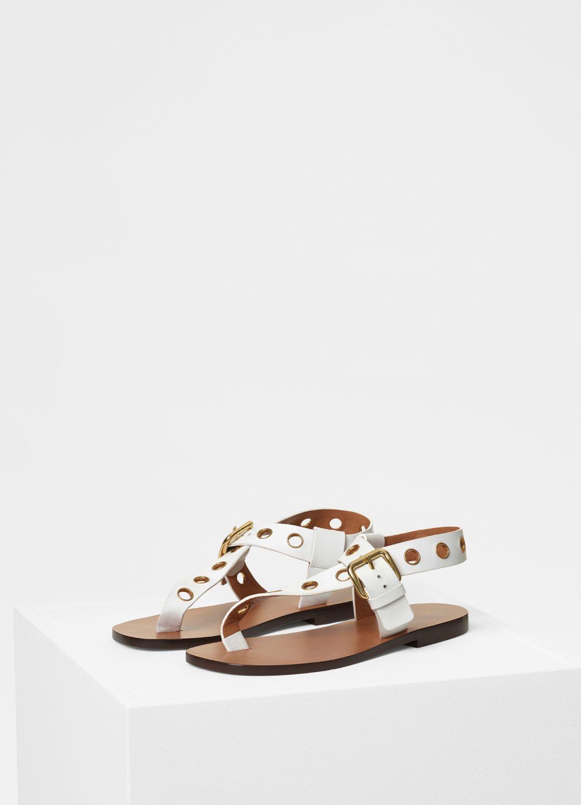 e92924dc699 Resort Sandal Flat Sandal with Eyelets in calfskin