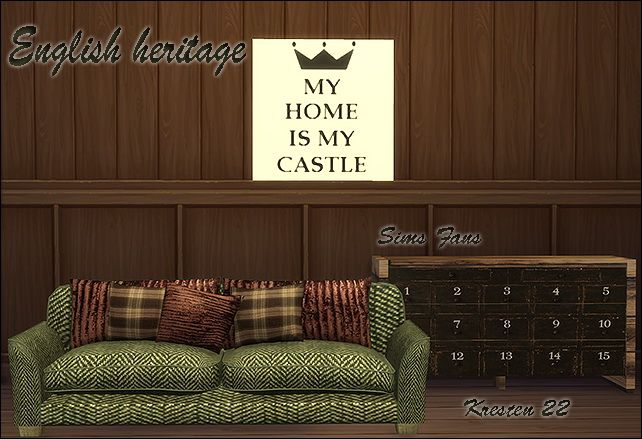 English heritage sofa dresser and painting by Kresten 22 at Sims Fans via Sims 4 Updates