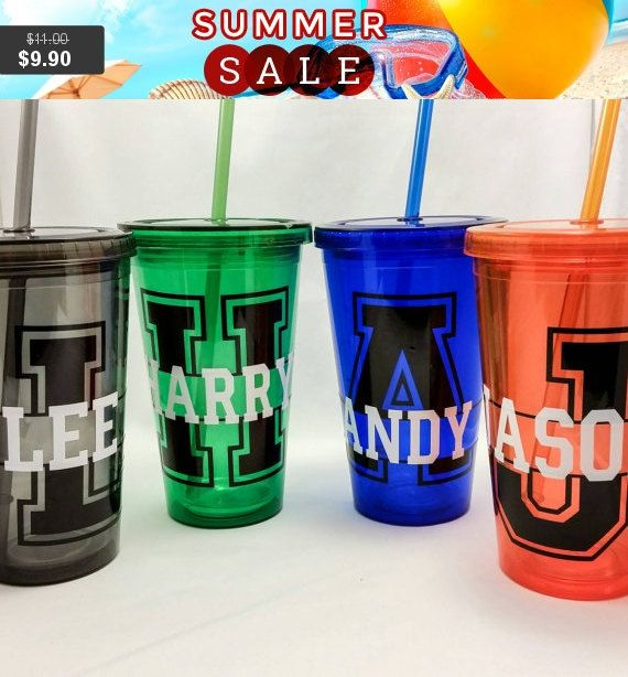 Acrylic tumbler iced coffee cup monogrammed tervis bridal party cups 16 oz dw with lid and straw girls getaway beach themes weddings
