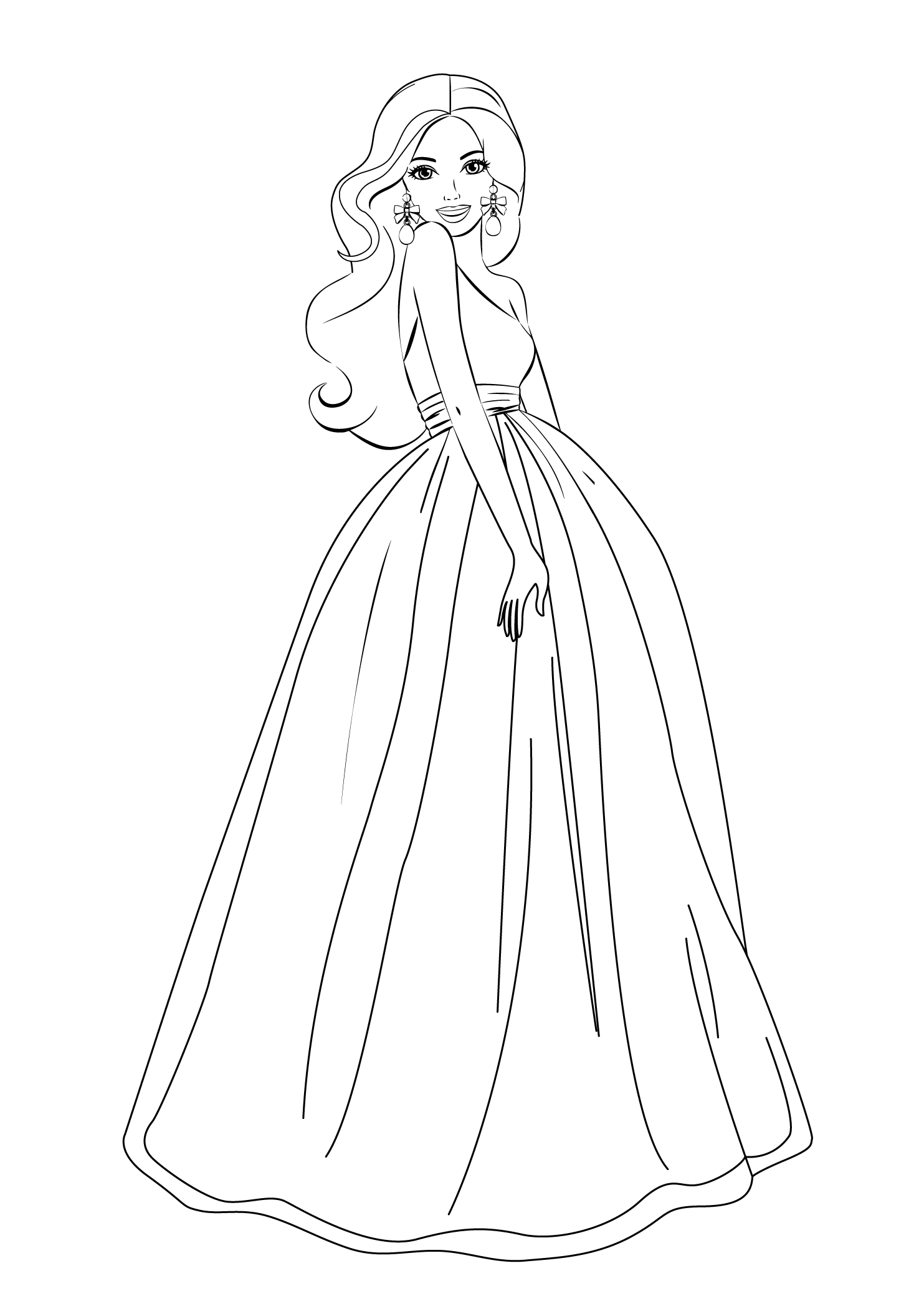 Gallery Of Dressup Free Colouring Pages Barbie Dress Up Coloring