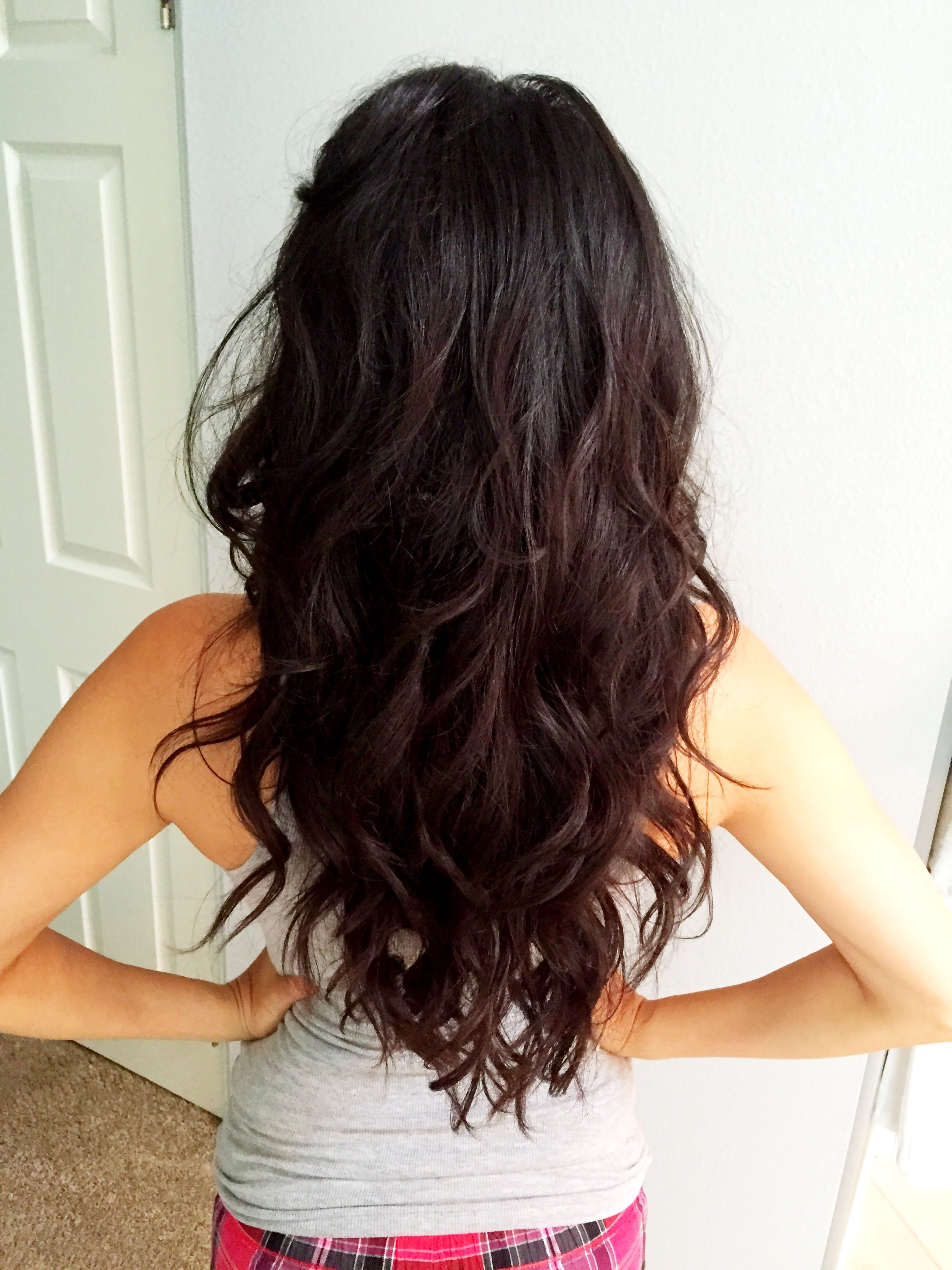long hair layers, long curly hair, brunette, beach waves