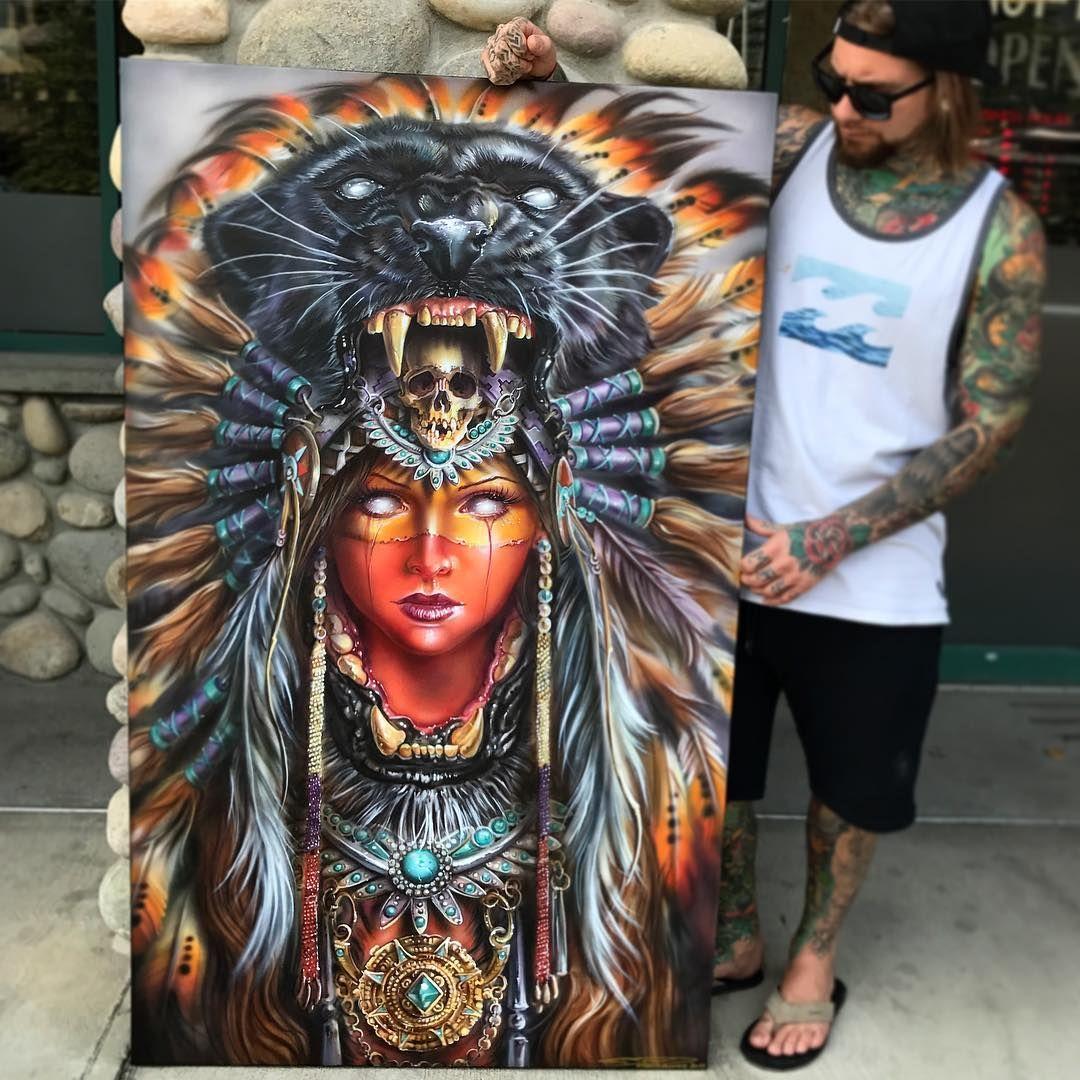 Aztec Warrior Derek Turcotte Airbrush