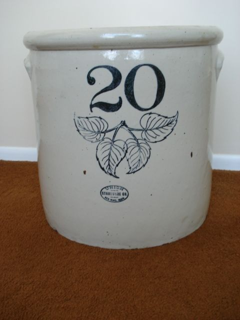 20 Gallon Elephant Ear Crock Red Wing Stoneware Red