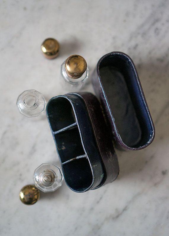 Antique Glass Bottle Set Original Box Travel by TheGrayLadies