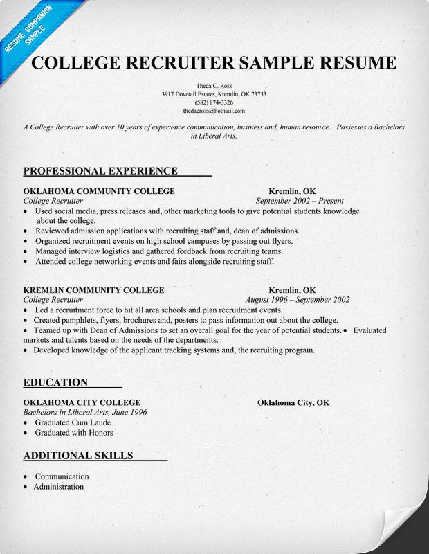 college recruiter resume sample resumecompanioncom - Sample College Resumes