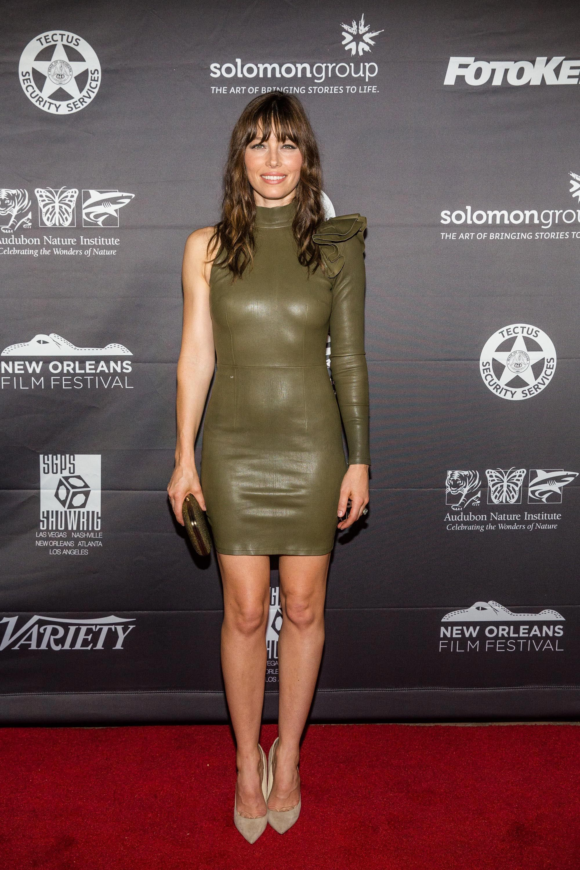e2919003e03 Jessica Biel – Leather Mini Dress