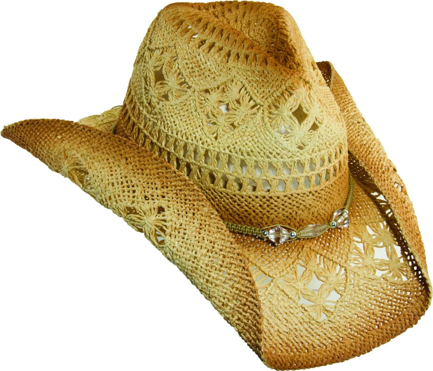 3552063236d Features and Benefits  Women s Straw Cowboy Hat w  shapeable brim for the  perfect summer style. Glass beads trim the crown of the hat giving just the  right ...