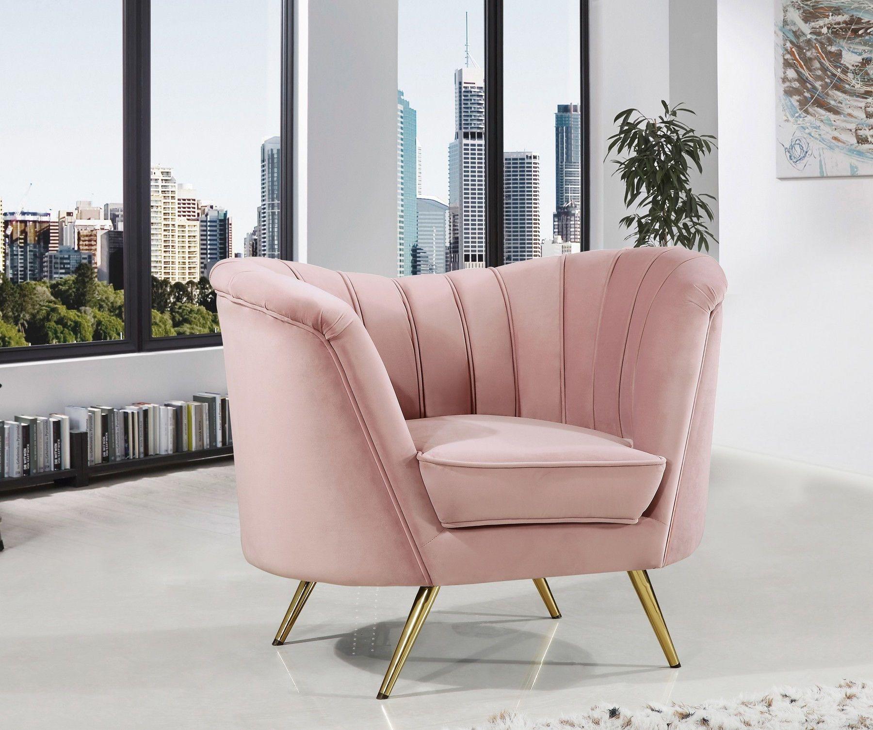 Meridian Margo Pink Curved Velvet Fabric Sofa W Gold Legs