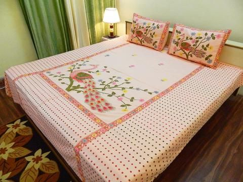 Fabby Classic Peacock Embroidery Bedsheet Bed Sheet Painting