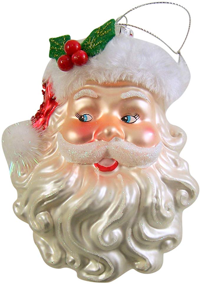 Santa Claus Face Glass Christmas Tree Ornament