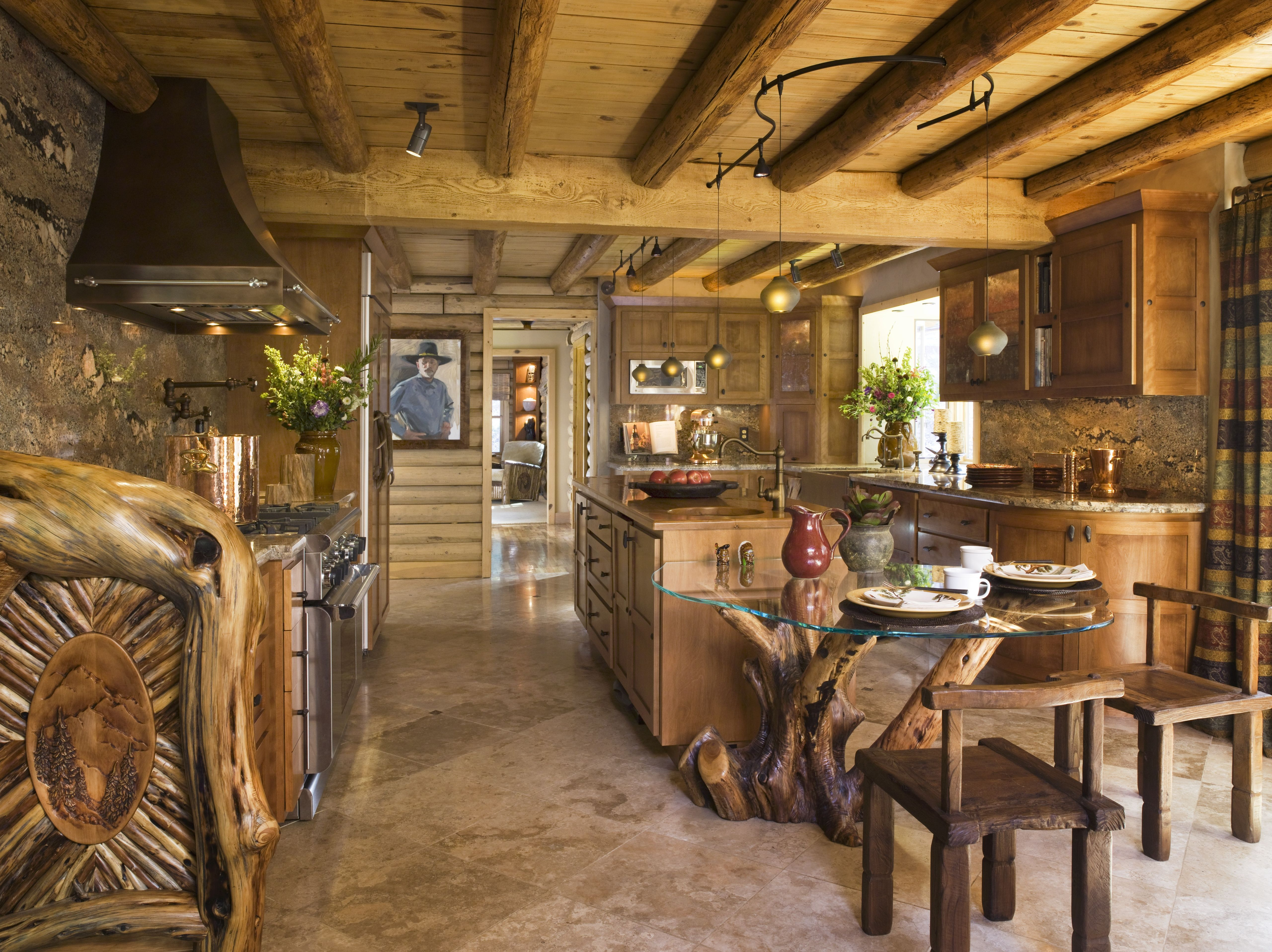 Pescadero log home with leatherandfringed furniture pieces copper