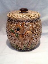 Vintage Japan Cookie Jar - Basket Weave Deer