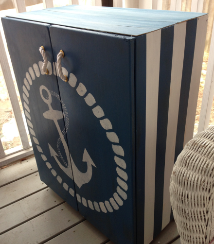 Nautical Cabinet Side view Stripes | Nautical | Pinterest | Beach ...