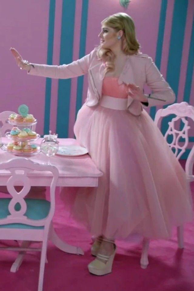 Meghan Trainor Pink Party Dress