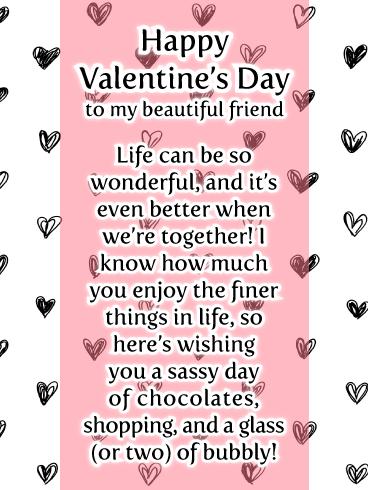 Sassy Style Happy Valentine S Day Wishes Card For Friend Birthday Greeting Cards By Davia Birthday Greeting Cards Valentines Day Messages Happy Valentine