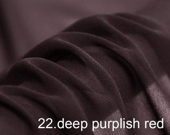 """Silk Georgette Pure Solid Fabric 45"""" Width No.22 Deep Purplish Red Color Sell By The Yard For Dress, silk georgette pure solid fabric 45"""" width NO.22 deep purplish red color sell by the yard for dress, Brown Things brown color weave"""