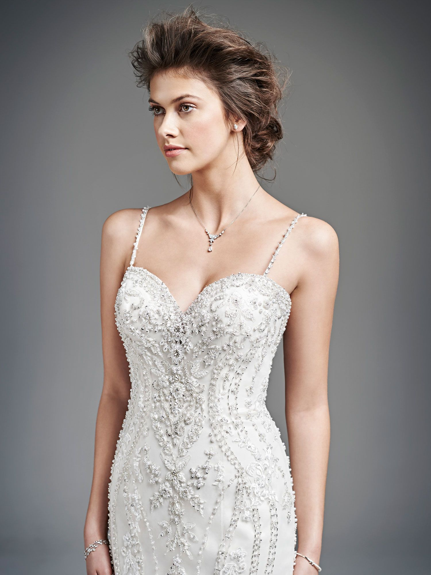Kenneth Winston Style 1615 Detailed Beading Over Satin Makes This Wedding Gown The Perfect Gatsby