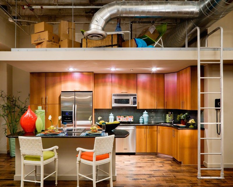 loft kitchen love the splash of colour