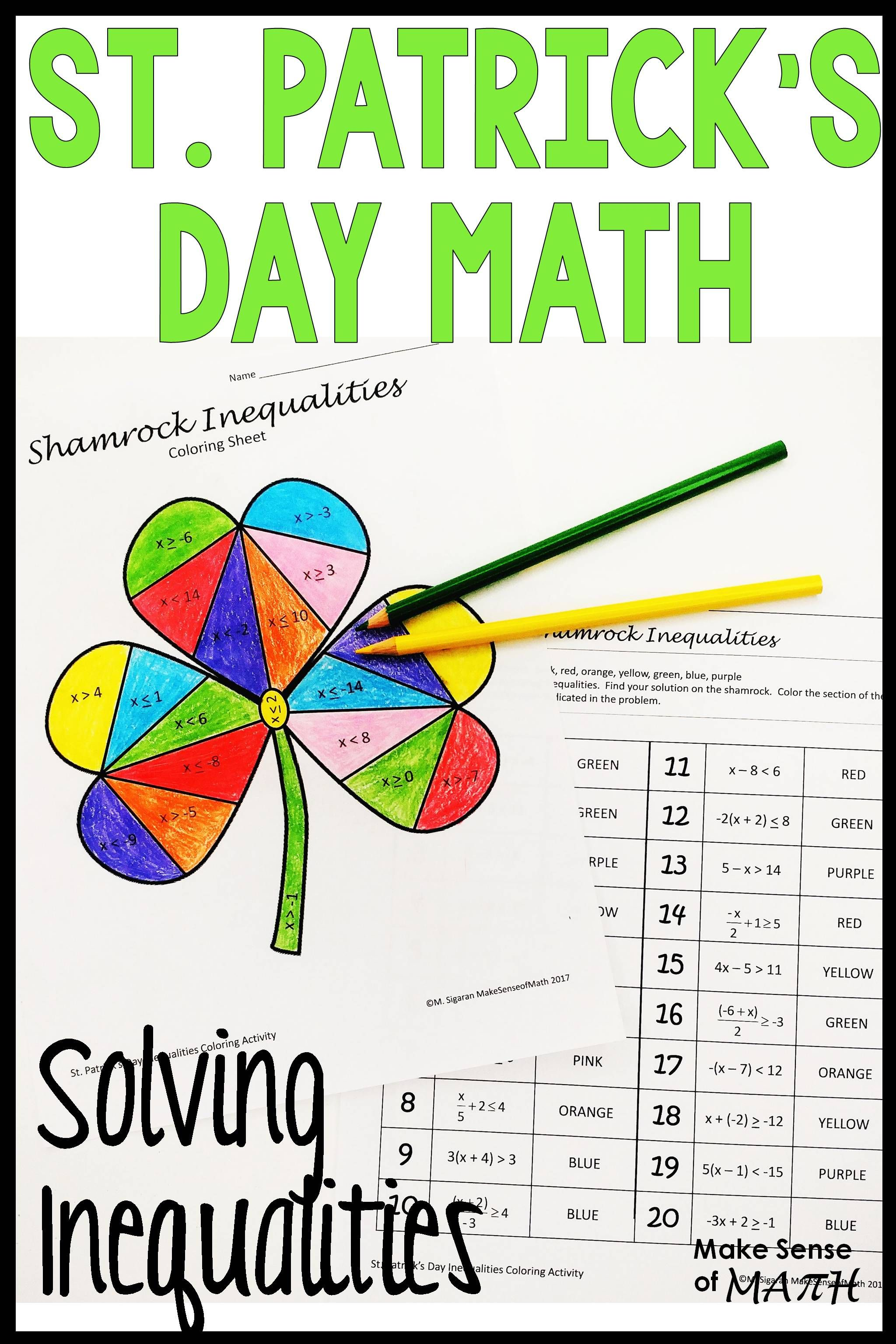 St Patrick S Day Math Activity Solving Inequalities