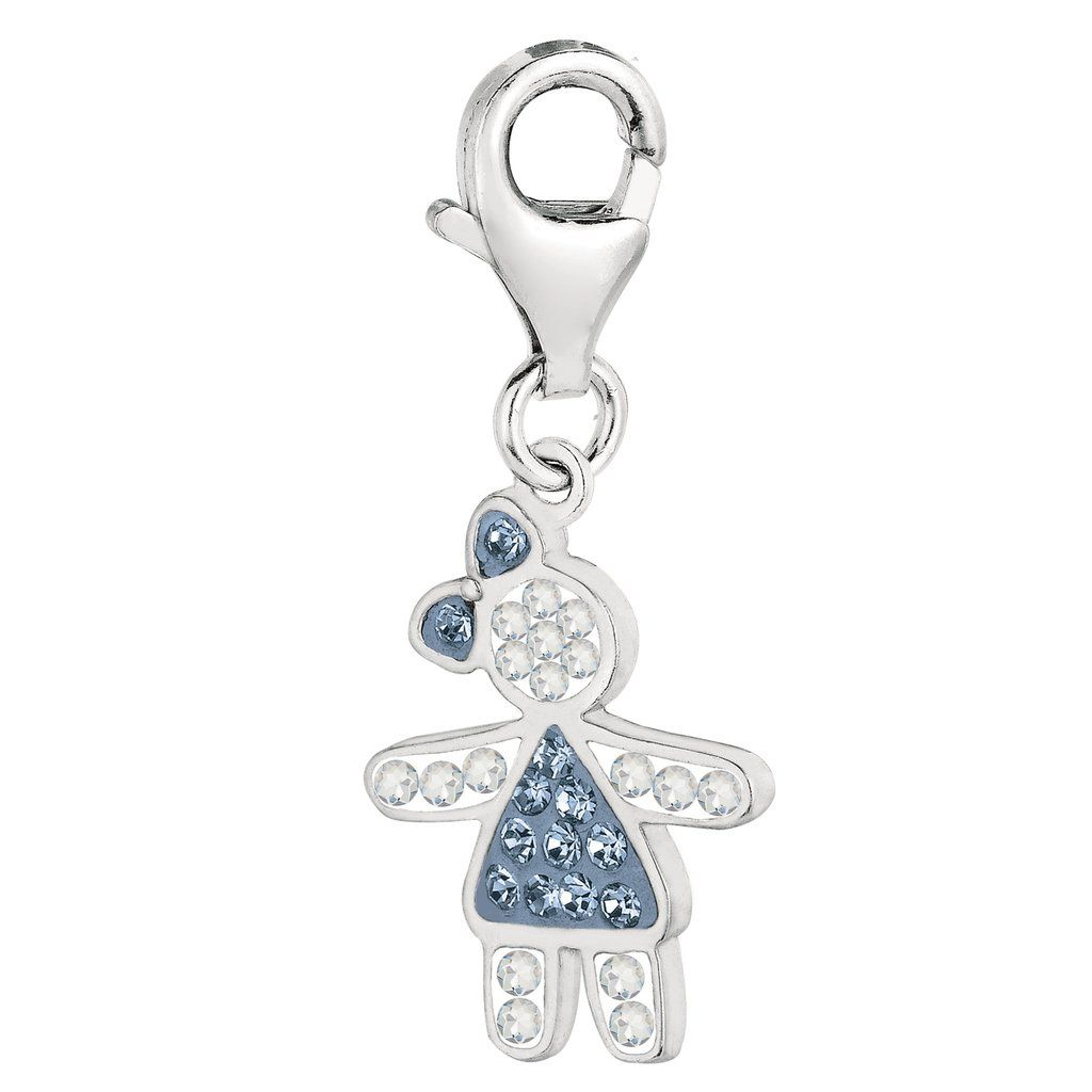 Sterling silver u crystal december birthstone clipon girl charm