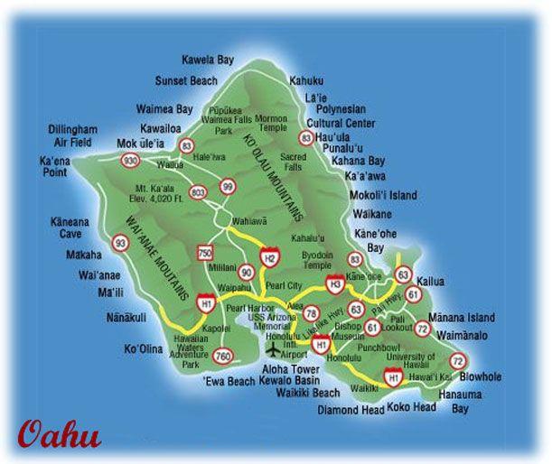 Oahu Oahu Map Kaneohe Marine Base Oahu Hawaii Oahu Hawaii