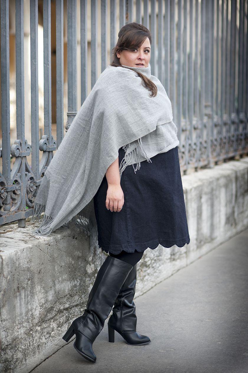 la robe en jean vs castaluna looks automne hiver grande taille fashion plus size. Black Bedroom Furniture Sets. Home Design Ideas