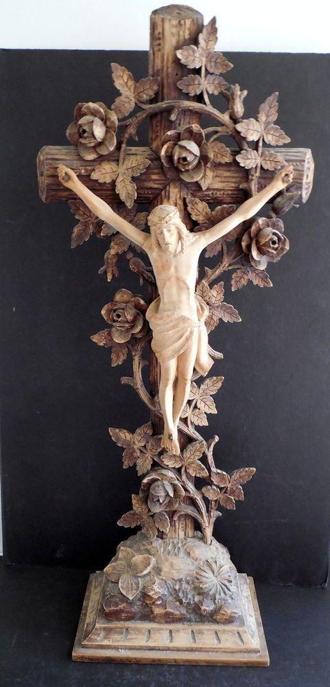 Lg antique ornate primitive wood carved religious crucifix