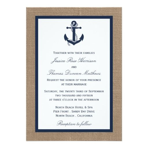 The Navy Anchor On Burlap Beach Wedding Collection 5x7 Paper Invitation Card