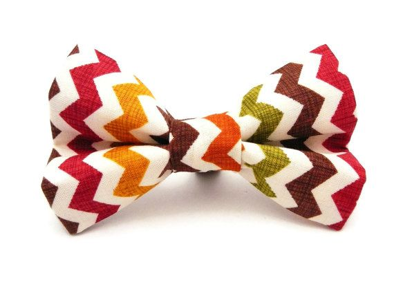 Cute Fall or Thanksgiving Chevron Collar Bow/Tie for Dogs (Boy or Girl) - Dressed for Dinner on Etsy, $10.00