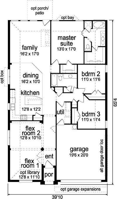 3 Bedroom 2 Bath Ranch House Plan Alp 04ku Narrow House Plans Inexpensive House Plans House Plans