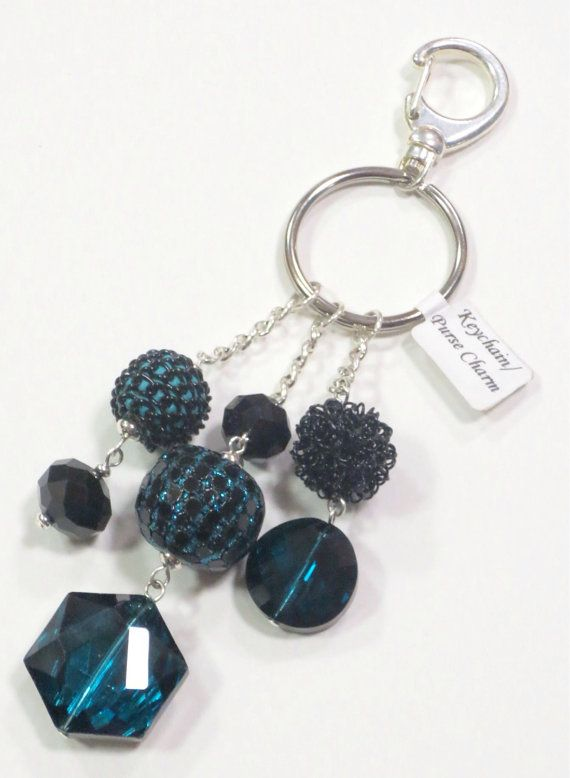 Beaded Keychain/Purse Charm in Black & Teal on Etsy, $8.00