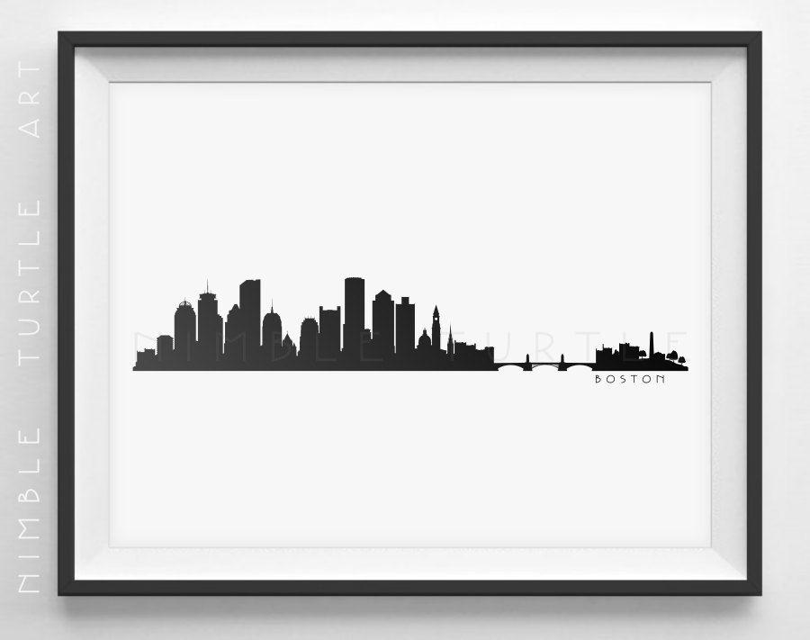 Boston Skyline Silhouette Printable Skyline Boston Ma Pdf Png Svg Eps Jpg Boston Skyline Silhouette Boston Skyline Skyline Silhouette