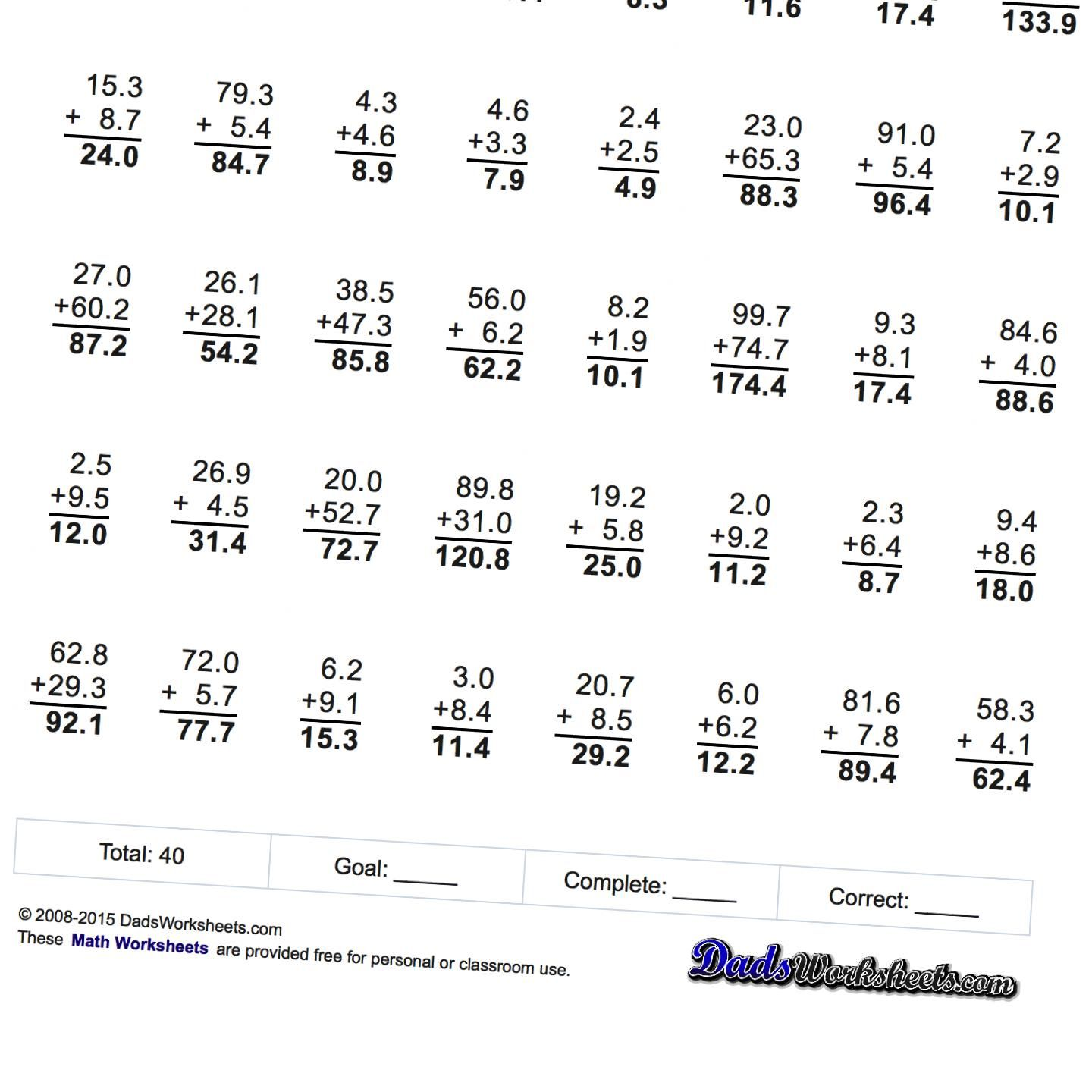 worksheet Decimal Addition Worksheets addition with decimals using tenths and hundredths math hundredths