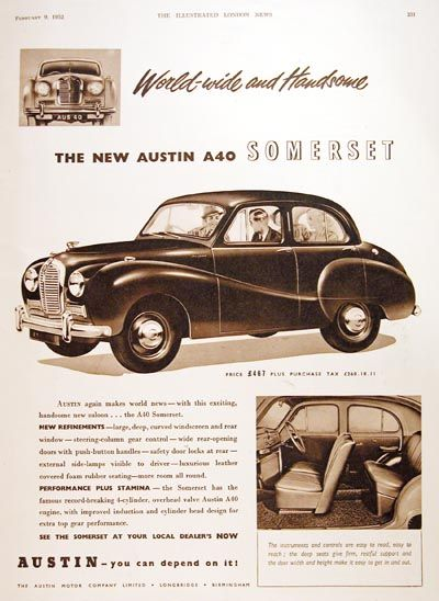 1952 Austin Somerset A40 Sedan Original Vintage Adver Msrp Started At 467 Plus 260 18 S Tax