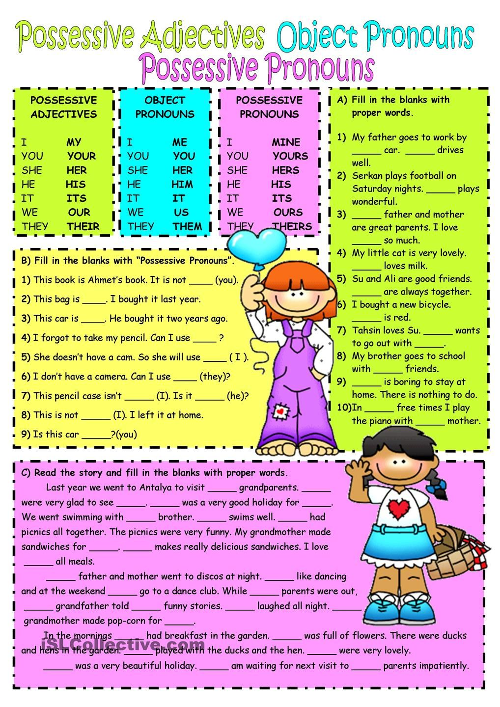 worksheet Pronoun Worksheets High School subjectobject pronouns possessive adjectives worksheet free esl printable worksheets made by teachers