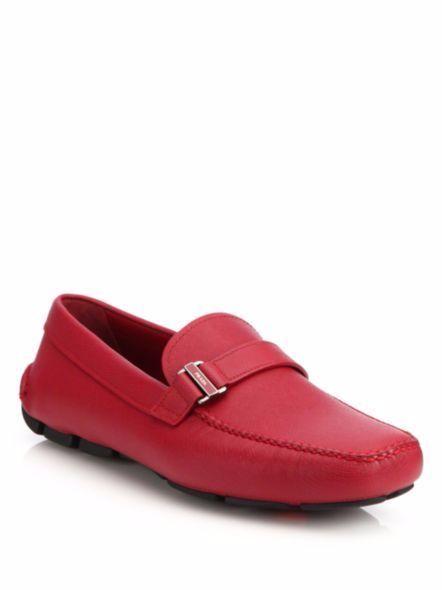 NIB Prada Mens Red Saffiano Leather